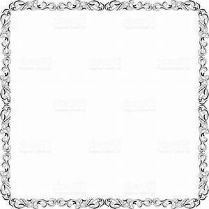 Best Ornate Black And White Square Border Vector Drawing