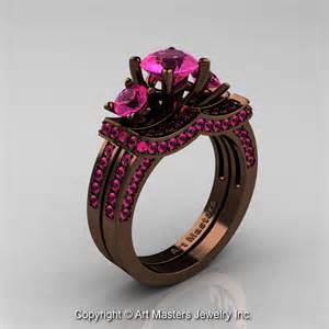 chocolate engagement ring exclusive 14k chocolate brown gold three pink sapphire engagement ring wedding band