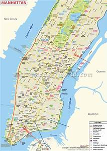 Map Of Manhattan Shows The City Attractions  Road Network
