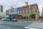 Brightly colored buildings in Shockoe Bottom, Richmond, VA