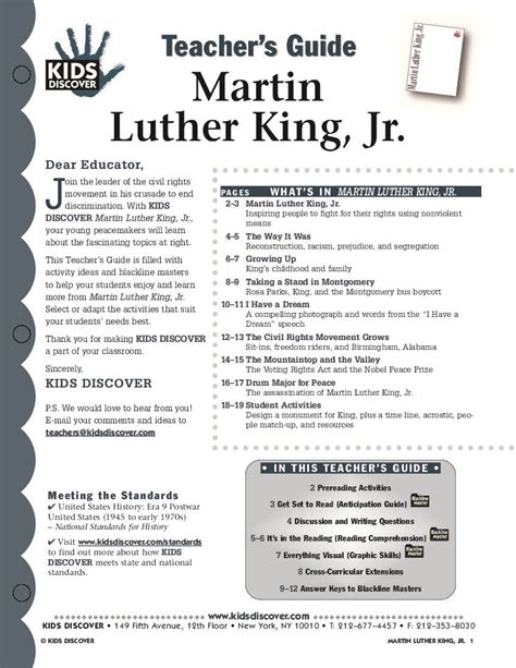 martin luther king lesson plans high school esl for day