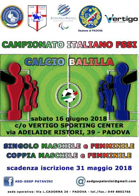 calcio balilla campionato italiano fssi