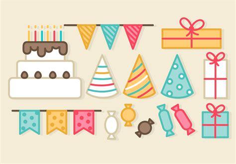 birthday party elements   vectors