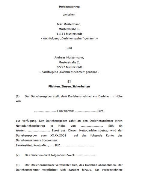 vertrag vorlageatdigitaldruckede darlehensvertrag