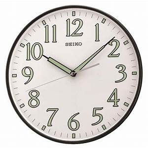 Seiko qxa521klh luminous hands wall clock the clock depot for Wall clock with luminous hands