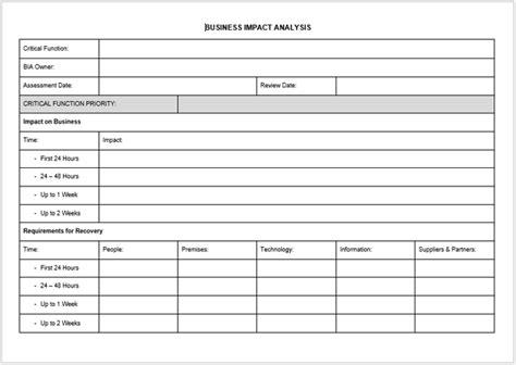 impact analysis templates examples word