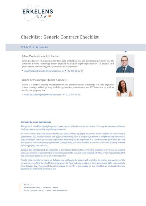 contract checklist belgian law english version