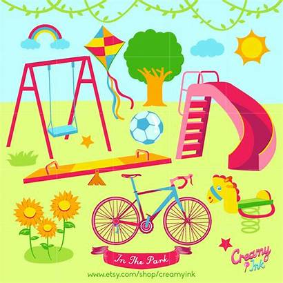 Clip Clipart Park Playground Play Vector Outdoor