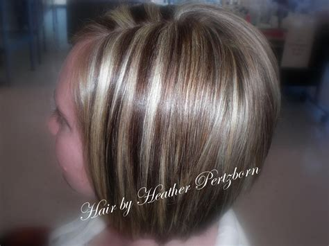 Cute Bob Cut Chunky Highlights Lowlights Blonde Red Brown