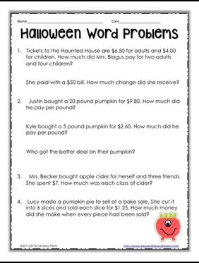 halloween math problems halloween math activity pages for 7th grade festival