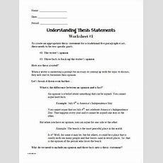Understanding Thesis Statement Worksheets #1, #2, #3 Tpt