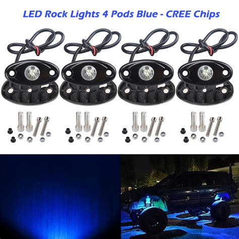 led light strips for cars exterior 4 pods led rock light cree chips ampper universal fit