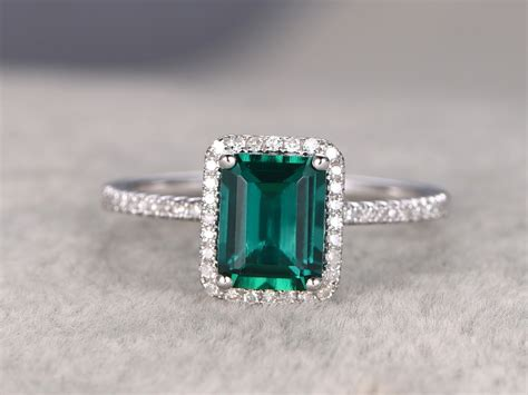6x8mm Emerald Cut Emerald Engagement Ring Diamond Wedding