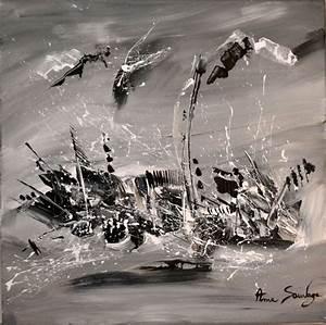 Tableau Moderne Noir Et Blanc : tableaux noir et blanc tableau abstrait contemporain moderne et unique ~ Teatrodelosmanantiales.com Idées de Décoration