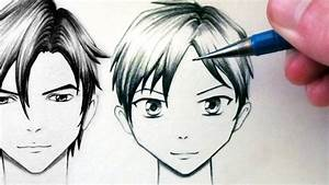How to Draw a Manga Face - Front View [Male] - YouTube