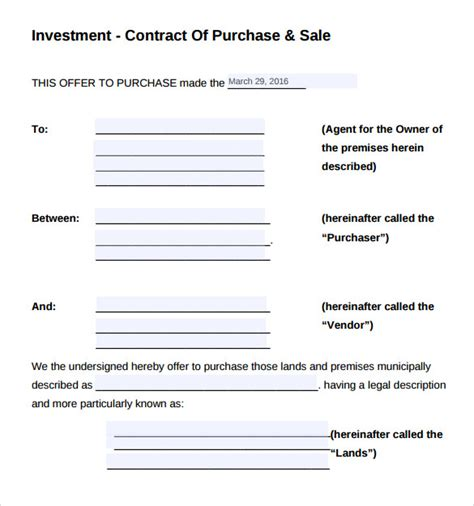investment contract templates   ms word