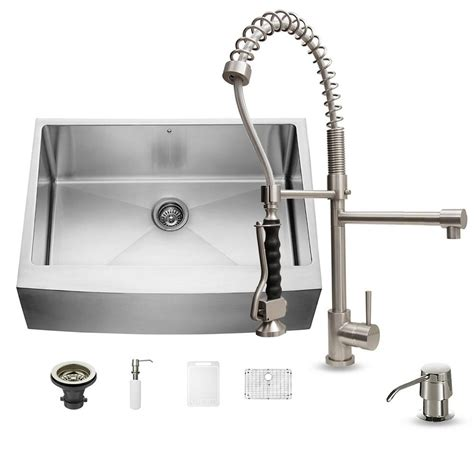 single basin stainless steel kitchen sink vigo all in one farmhouse apron front stainless steel 30 9300