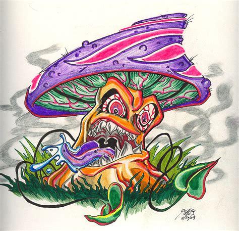 colored evil mushroom tattoo design