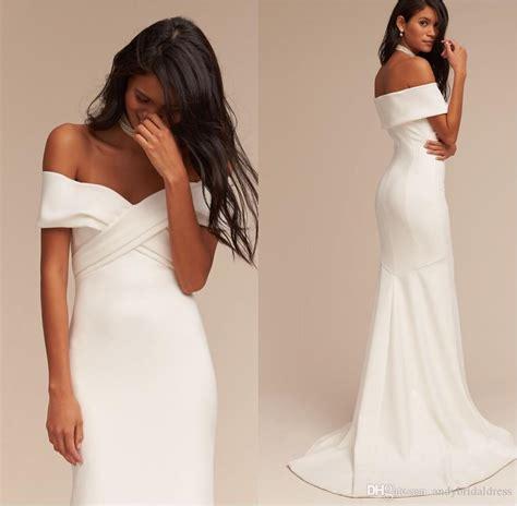 Criss Cross Off Shoulder Wedding Dresses Cheap Bridal
