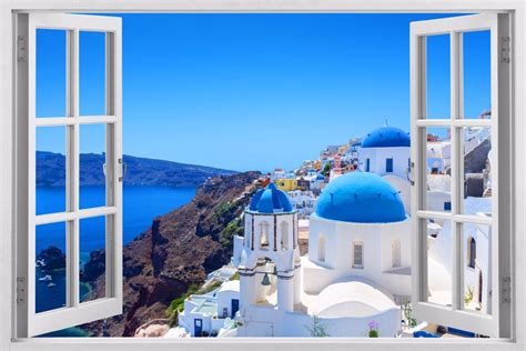 3d Window Ocean View Blue Sea Home Decor Wall Sticker: Greece 3D Window Wall Sticker Art Decal Paper Mural Ocean
