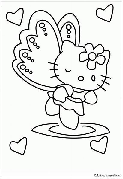 Kitty Hello Coloring Pages Angel Ausmalbilder Girlie