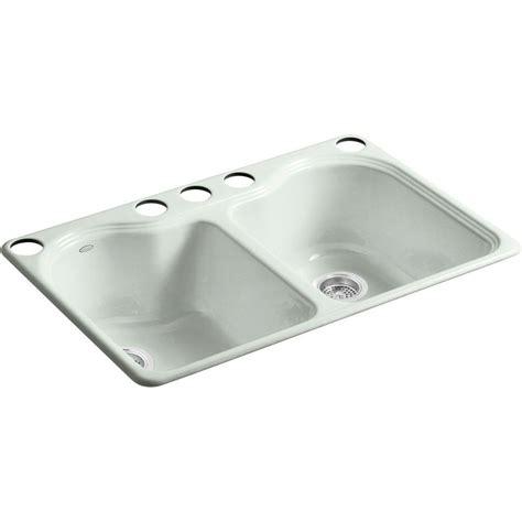hole in sink basin kohler hartland undermount cast iron 33 in 5 hole double