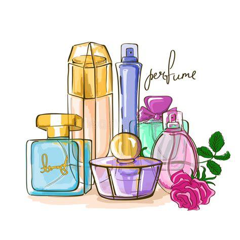set  perfume bottles stock vector illustration