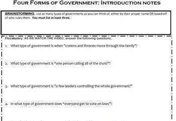 flocabulary four forms of government worksheet by ms laceys learning legends