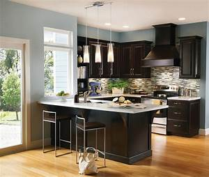 contemporary espresso kitchen cabinets With kitchen colors with white cabinets with large metal flip flop wall art