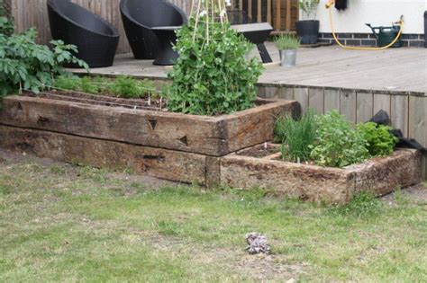 raised beds   oak railway sleepers