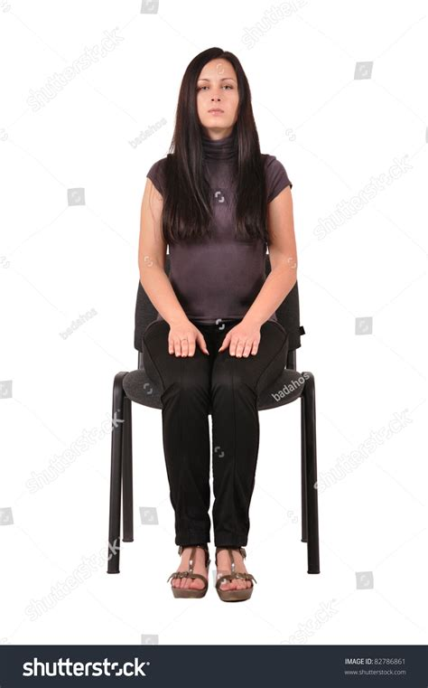 sitting on chair isolated on stock photo 82786861