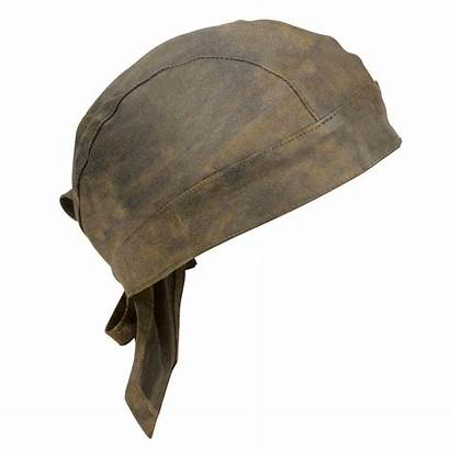 Leather Skull Cap Brown Distressed Accessories