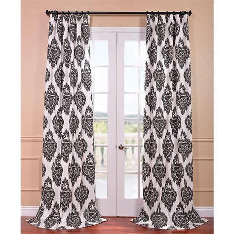 jonathan adler furniture ikat black printed cotton curtain panel