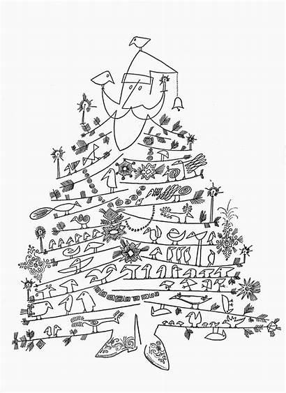 Christmas Tree Drawing Santa Modern Steinberg Claus