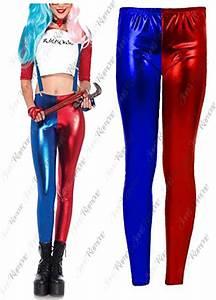 New Womens Harley Quinn Costume Suicide Squad Metallic Shiny Look Leggings Pants   eBay