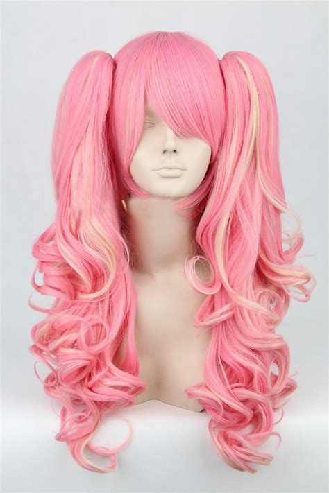 lolita long curly fashion pink women anime party halloween