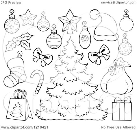 christmas picture outline clipart of an outlined tree with decorations and items royalty free vector