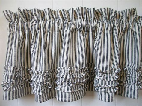 Striped Valances by Black And White Ticking Stripe Ruffled 72 Quot Cotton