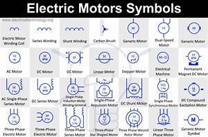 Electric Motors Symbols  Dc  Single Phase    Three