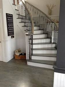 Wood Floor Stair Refinishing Grey Stained Coloured