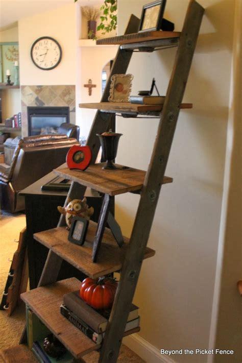 wood ladder shelf beyond the picket fence ladder shelf