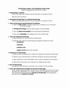 Weathering  Erosion  And Deposition Study Guide Worksheet