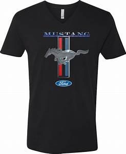 Buy Cool Shirts Ford Mustang T-shirt Stripe V-Neck | eBay
