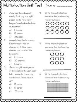 Common Core 3rd Grade Multiplication Assessment Arrays, Groups, Number Line
