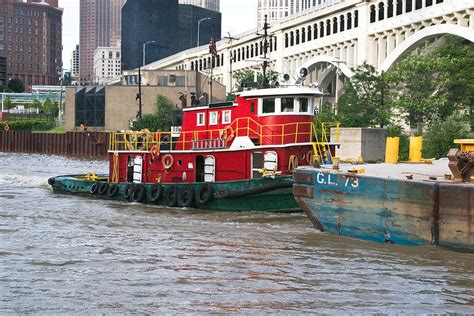 Tugboat And Barge by Tugboat And Barge On Cuyahoga River Photograph By