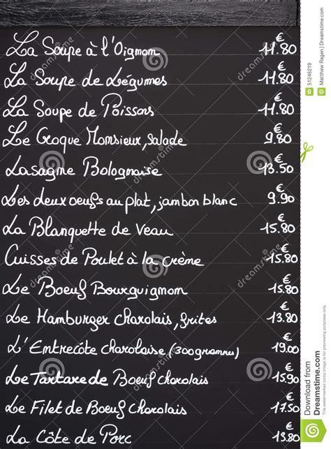 ma cuisine beaune menu français sur le tableau noir photo stock image 51246219