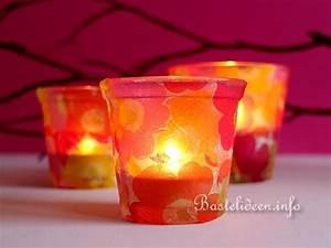"""Dekorationen Basteln zum Fruehling """"Teelicht Glas mit"""