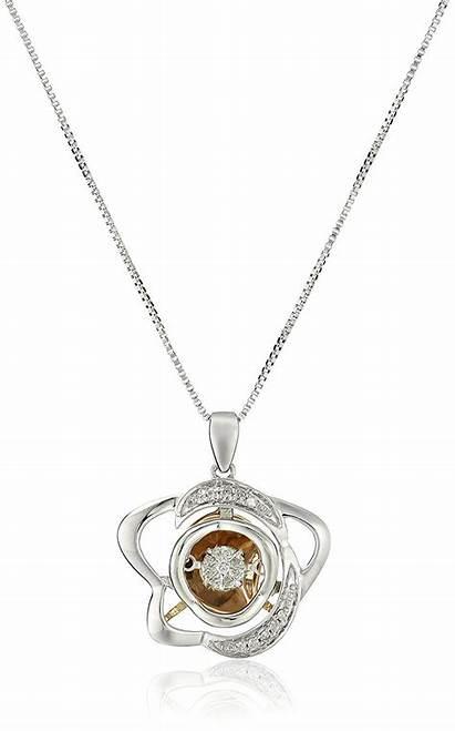 Diamond Necklace Dancing Rose Pendant Sterling Jk