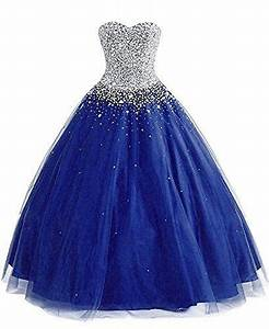 Ball Gown Silver Beaded Blue Pink Gold Red Purpe Royal ...