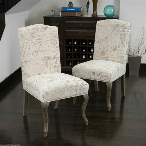 set   elegant french beige script fabric dining chairs ebay